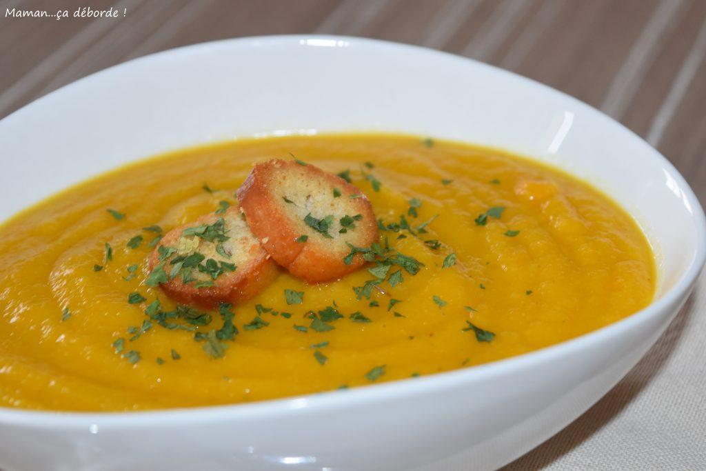 Velouté carotte, panais et lentille corail