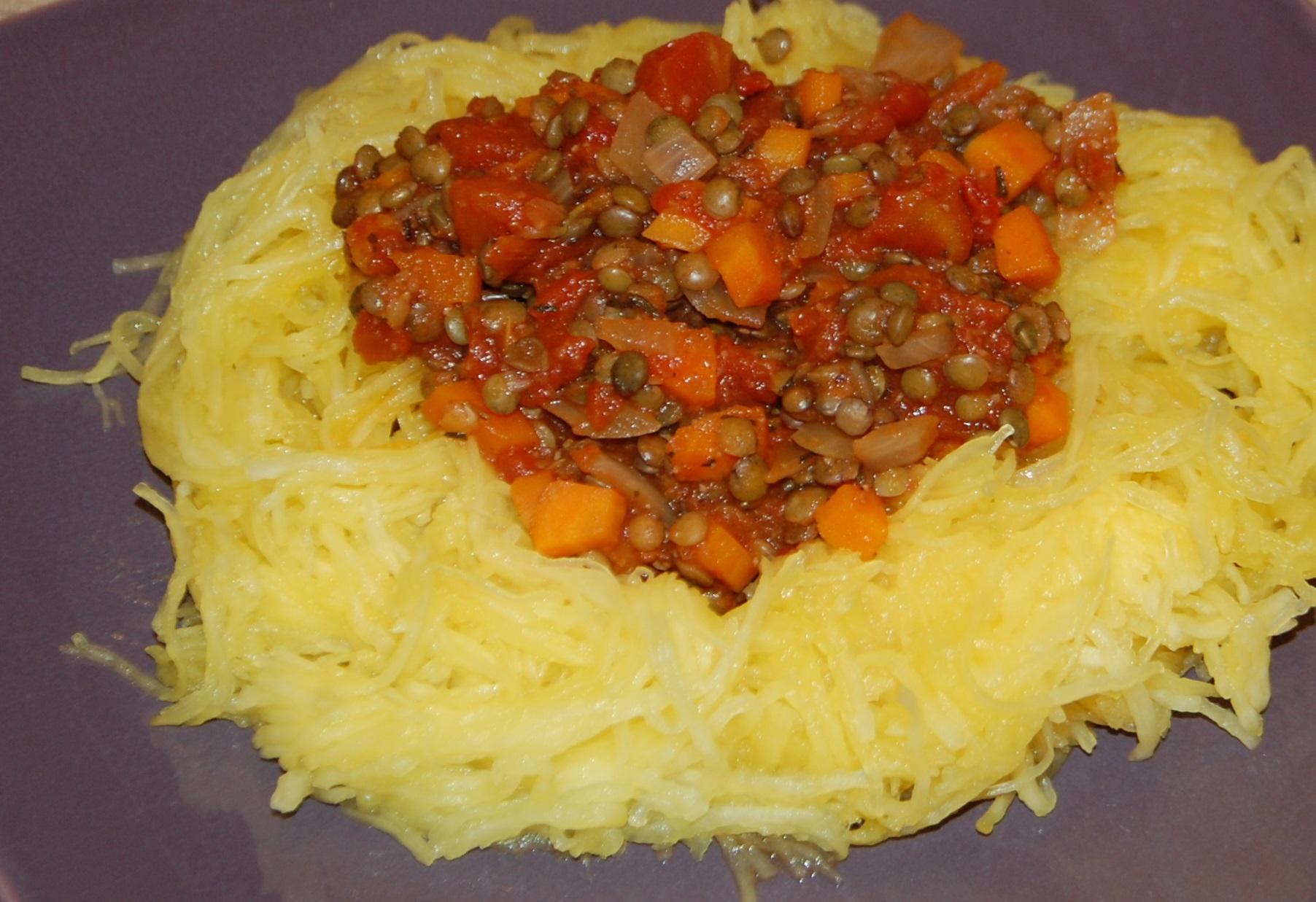 Courge spaghetti la bolognaise de lentilles maman a - Cuisiner la courge spaghetti ...