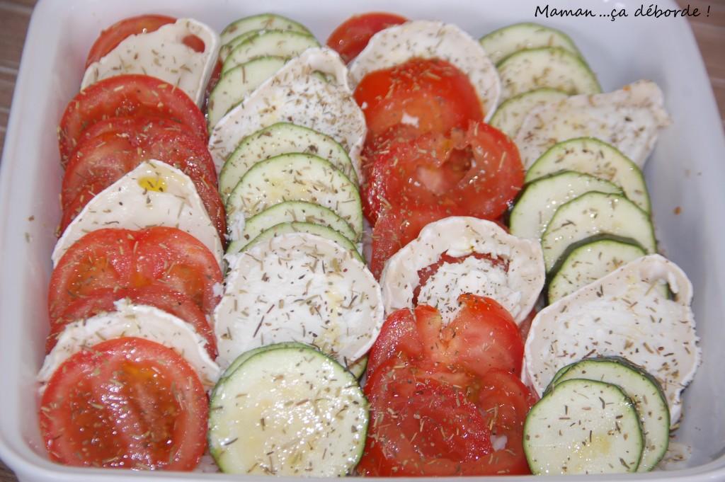 Tian courgette tomate et chevre sur lit de riz1