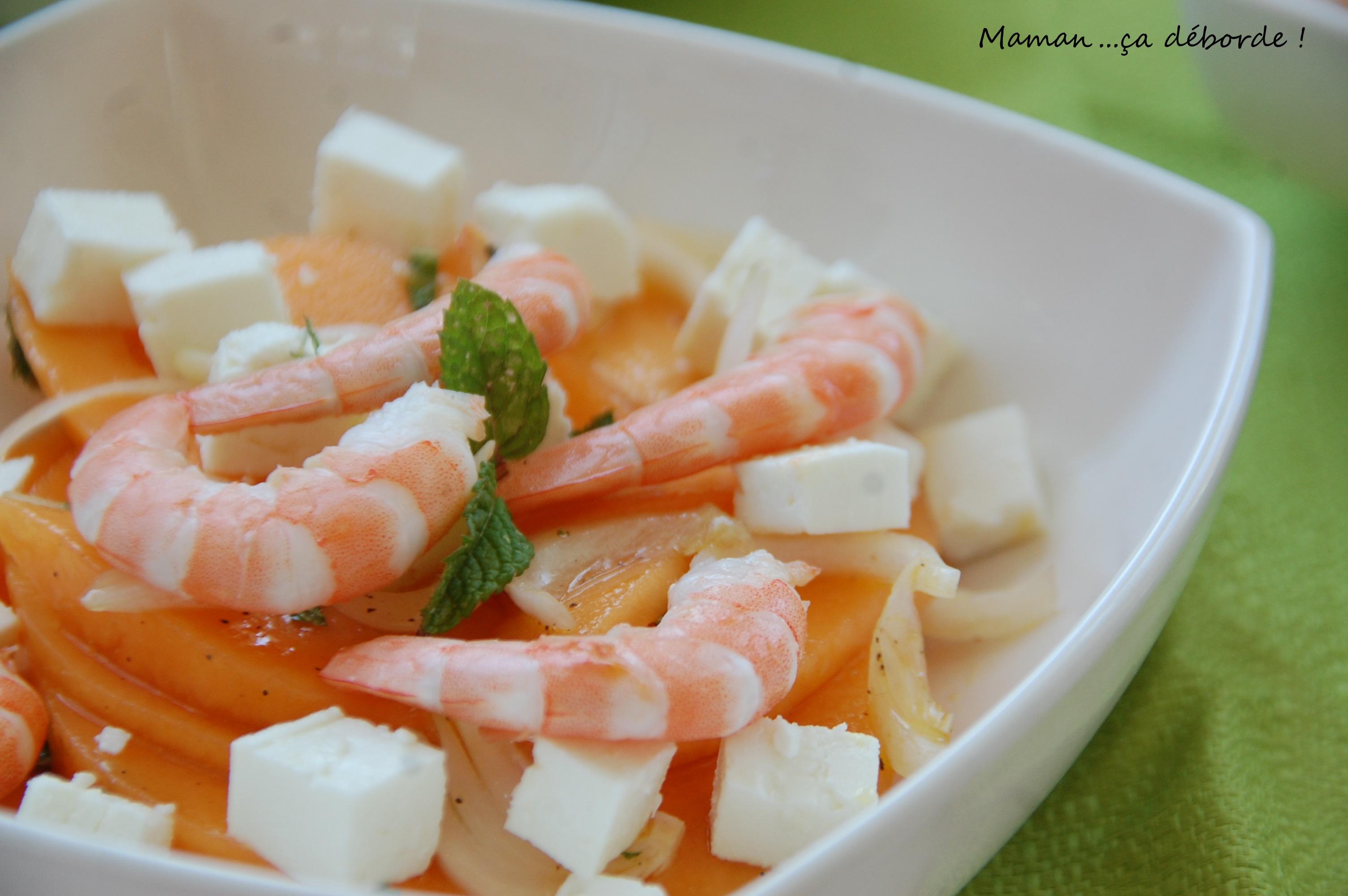 Salade de melon aux crevettes maman a d borde for Salade entree originale