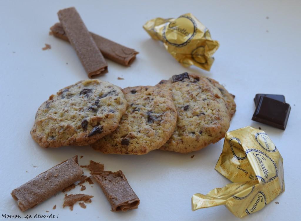 Cookies chocolat, gavotte et noisette