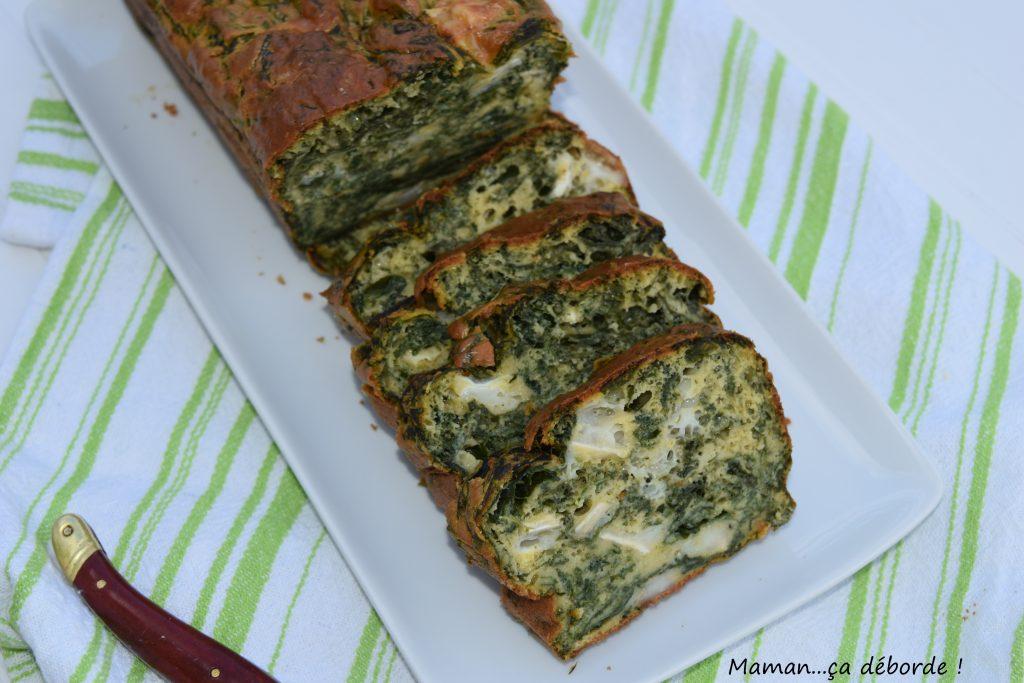 Cake épinard, chèvre et basilic