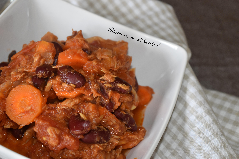 haricots rouges et carottes sauce au thon maman a d borde. Black Bedroom Furniture Sets. Home Design Ideas