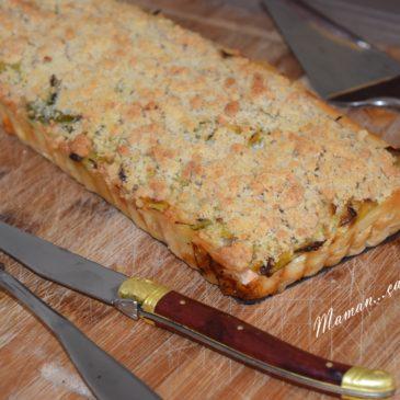 Tarte poireau, saumon et son crumble